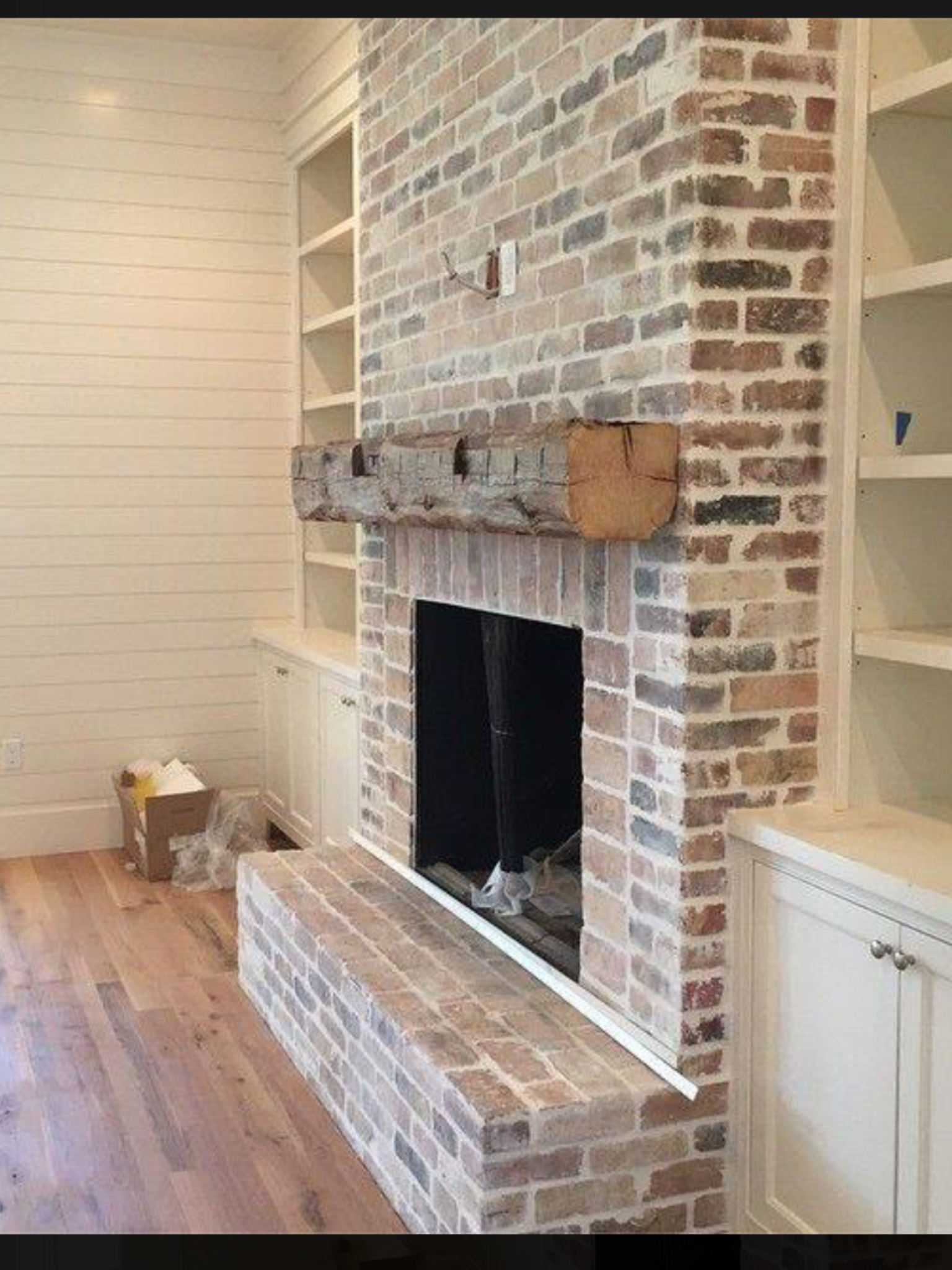 Mantel On Brick Fireplace Like The Muted Tone Of The Bricks The Aged Timber Shelf And The