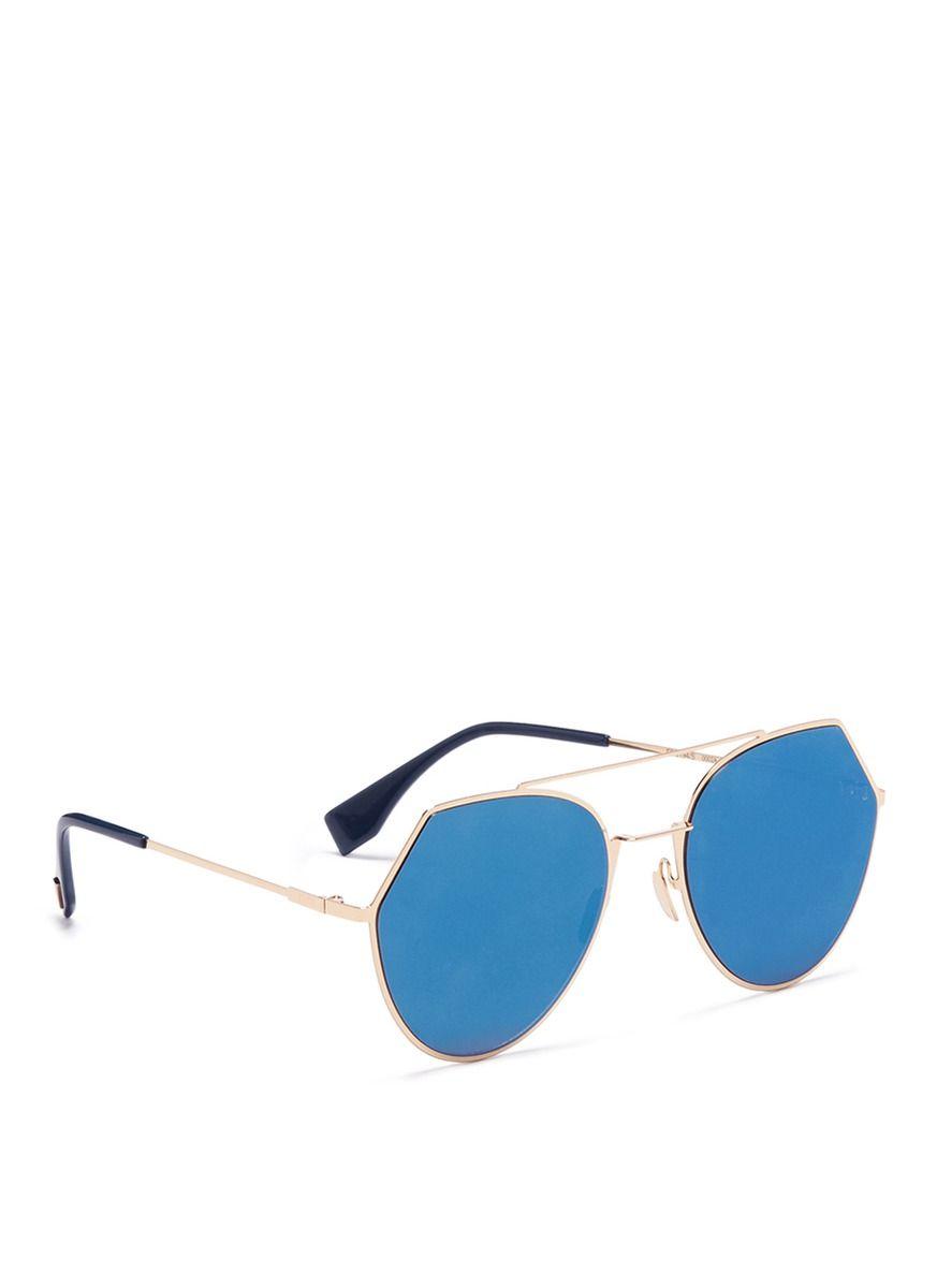 0fbb82c5553 Fendi -  eyeline  Flat Lens Metal Sunglasses