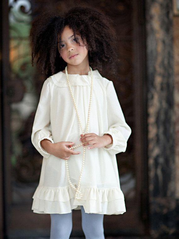 Girls Cream CORINNA Ruffle Dress  Lilla Grey F/W '13 by lillagrey, $148.00