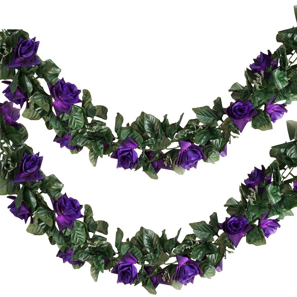 6 Ft Purple UV Protected Rose Chain Artificial Flower