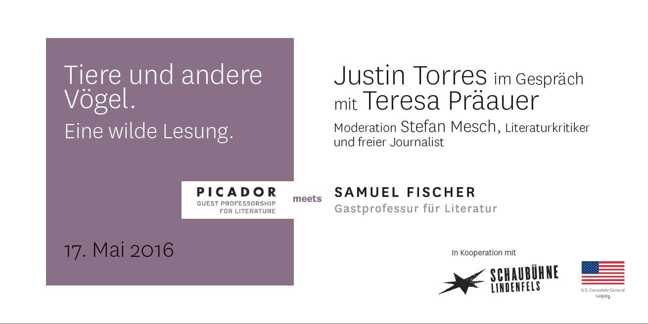 #Reading with Picador Guest Professor Justin #Torres and Samuel Fischer Guest Professor Teresa #Präauer in #Leipzig @Schaubühne Lindenfels