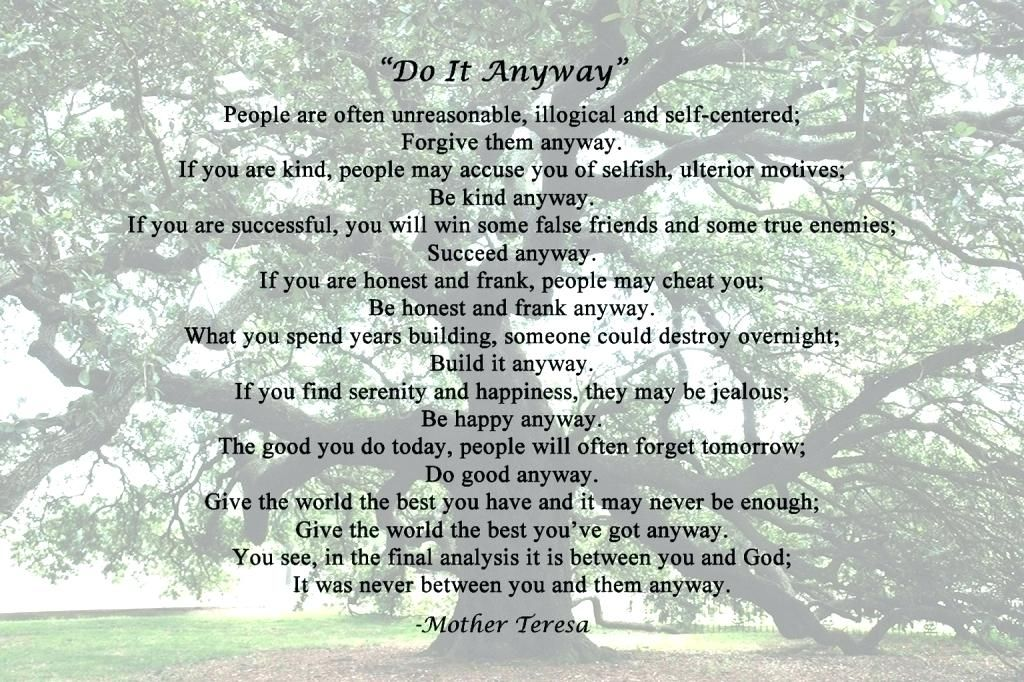Mother Teresa Quotes Do It Anyway Plus Top Mother Quotes Love Anyway  Extraordinary Mother Quotes Do