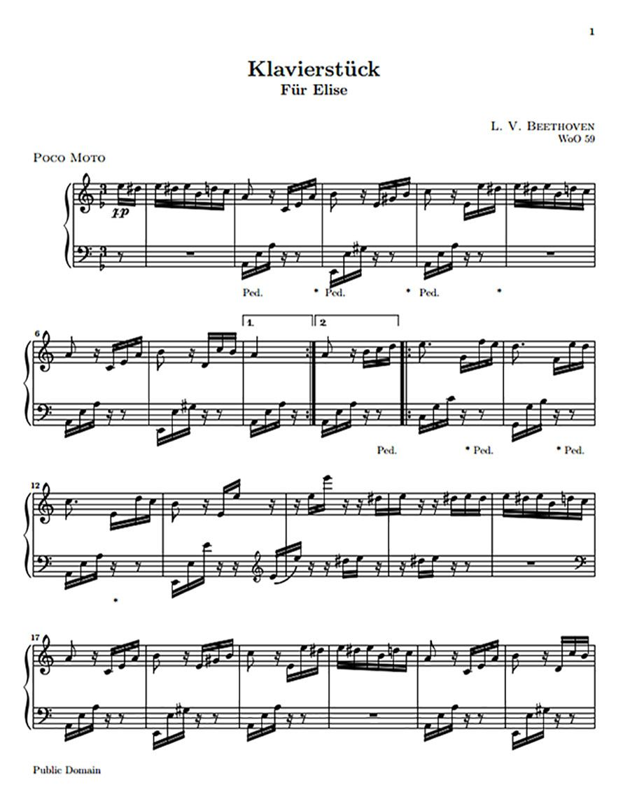 Download Fur Elise Sheet Music For Free And Learn How To Play