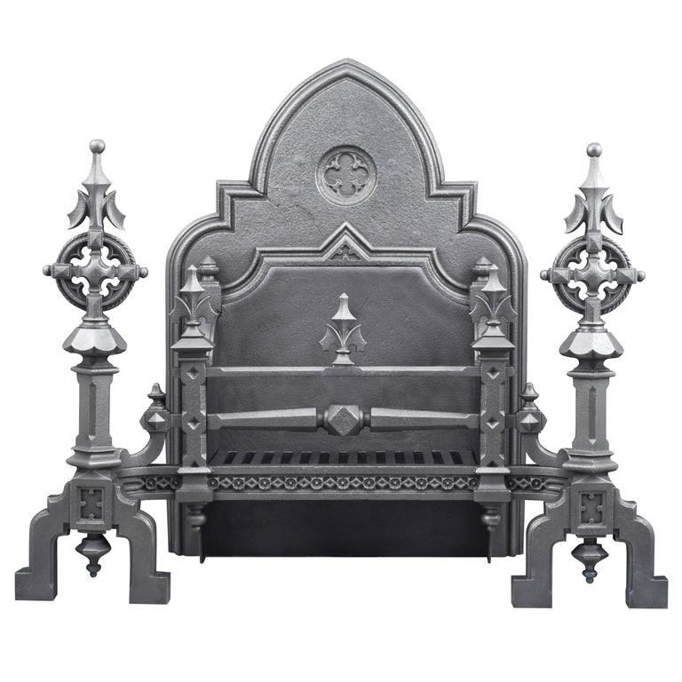 Huge Ornate Antique English Gothic Revival Cast Iron Fireplace Grate Cast Iron Fireplace Fireplace Grate Antique Revival