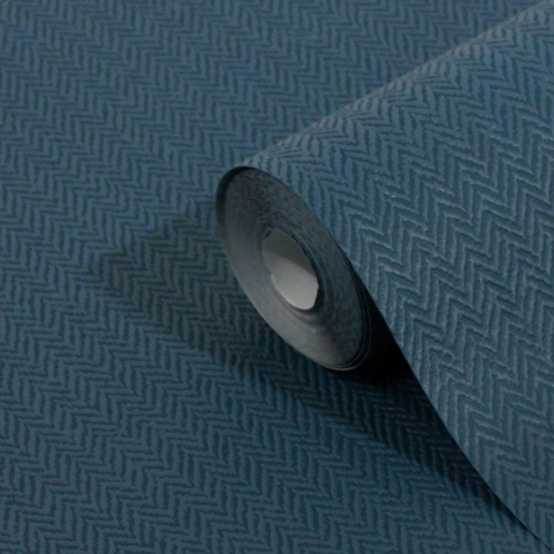 Dark Blue Herringbone Wallpaper