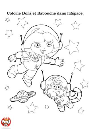 Coloriage dora et babouche dans l 39 espace pour enfant - Dessin de dora et babouche ...
