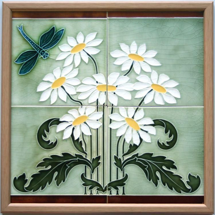 An Art Nouveau Relief Pressed Four Tile Polychrome Panel