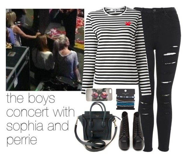 """""""the boys concert with sophia and perrie"""" by lovefourever1d ❤ liked on Polyvore featuring Topshop, Play Comme des Garçons, Jeffrey Campbell, Fendi and With Love From CA"""