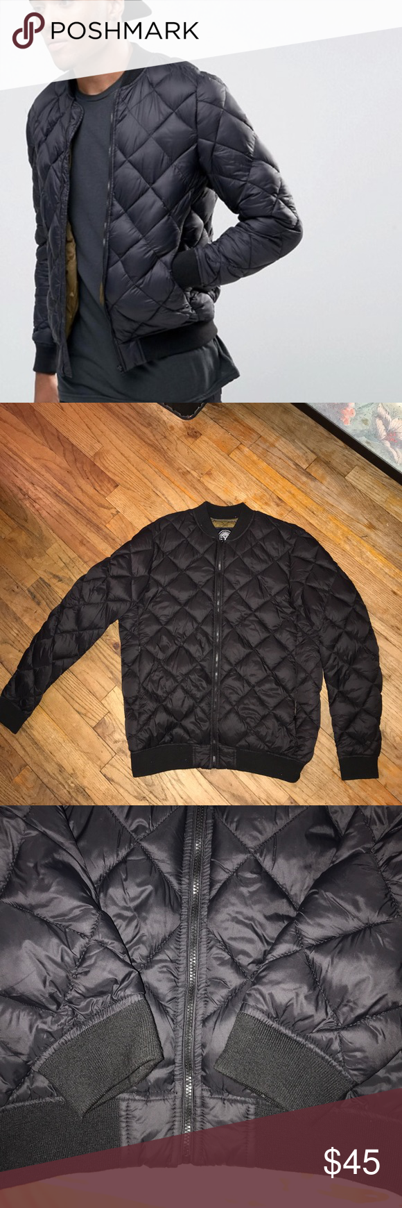 Asos pull&bear quilted bomber jacket Perfect condition. Just a little lent around the collar/wrist/neck area. Been in my closet the whole summer so may want to put in the cleaners. Only worn 3 times. Any questions feel free to ask. Pull&Bear Jackets & Coats Bomber & Varsity