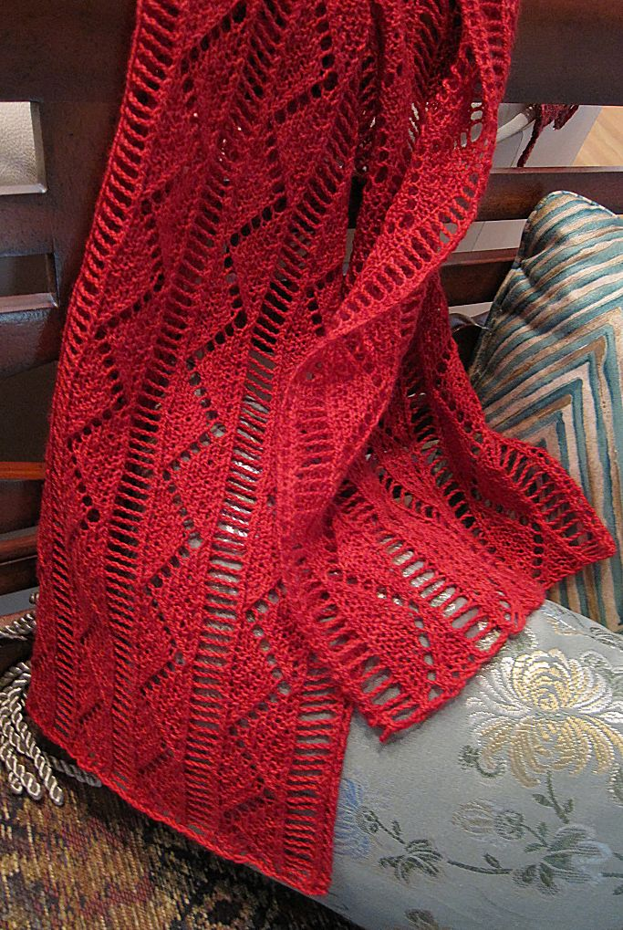 Knitting Pattern For Pompa Scarf Accent Scarf With Zigzag Lace And