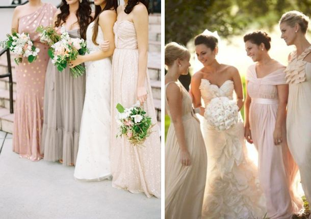 Mismatched Neutral Bridesmaid Dresses I M Not A Fan Of These But Love The Color Combo