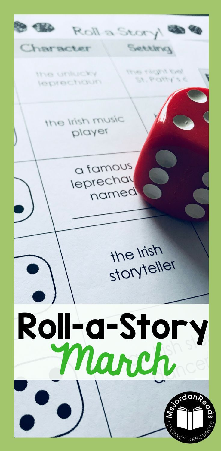 Story Starter Writing for March | Students will roll a dice to identify the story elements - characters, setting, and problem. | Teachers and parents can this resource to motivate writers who never know what to write about, or students who have difficulty coming up with ideas. It's perfect for struggling writers in the classroom! Includes St. Patrick's Day story element pages. (Gr. 2-4)