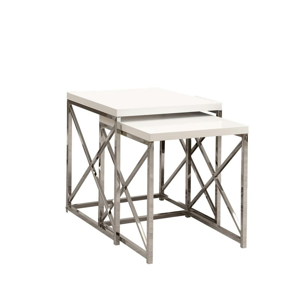 Glossy White 2-Piece Nesting End Table | Chrome, Living rooms and Room