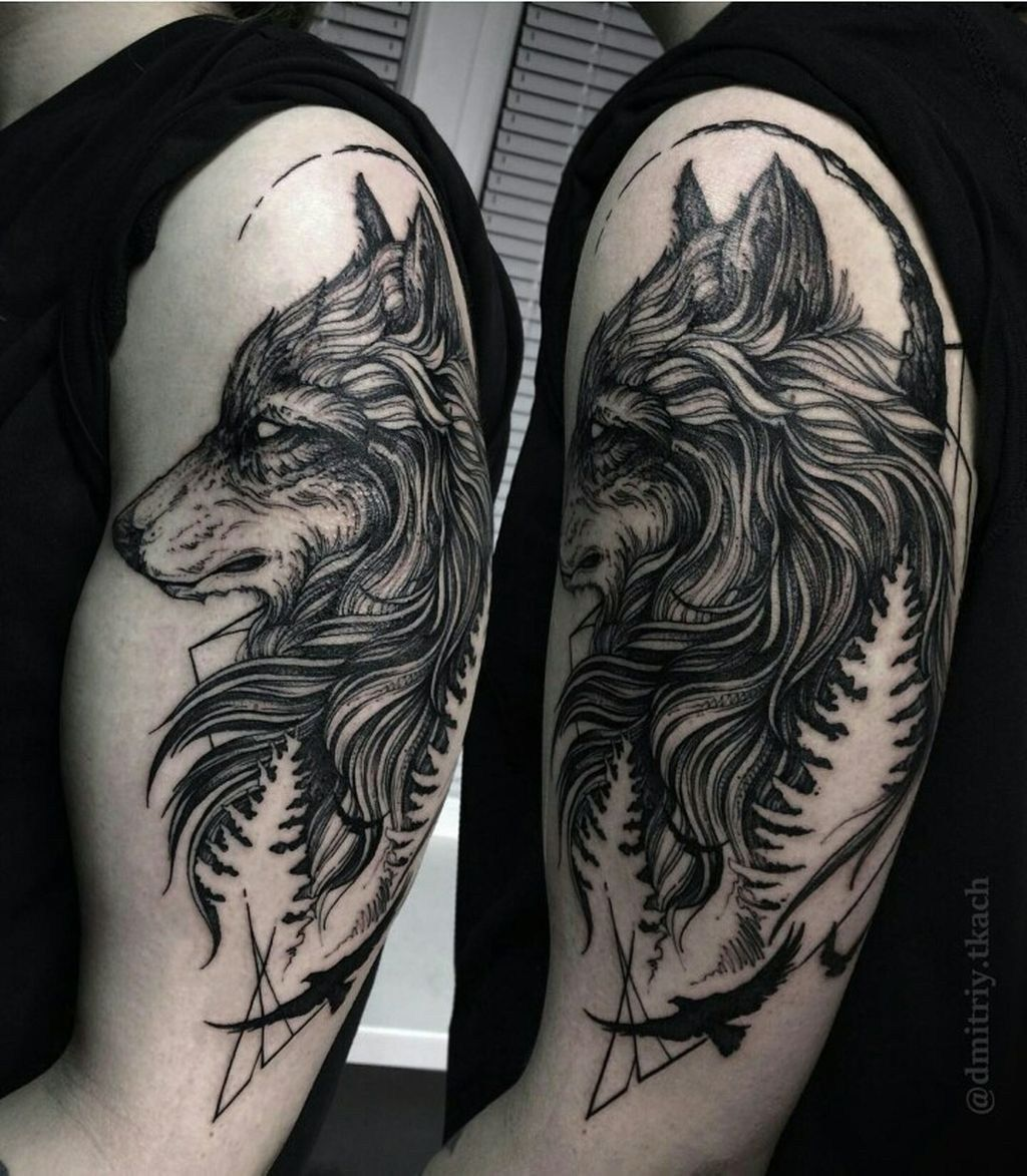 25 cool wolf tattoo design ideas suitable for you who loves spirit animal. Black Bedroom Furniture Sets. Home Design Ideas