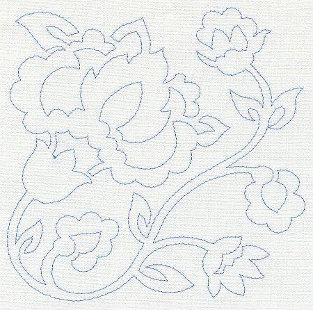 Jacobean Flower Quilting Square 2 (Single Run) | Applique 2