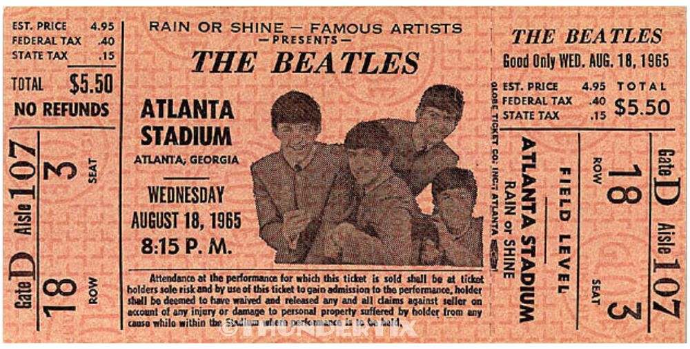 1 Beatles Vintage Unused Full Concert Ticket 1965 Atlanta Ga Orange Laminated Concert Tickets Beatles Vintage The Beatles
