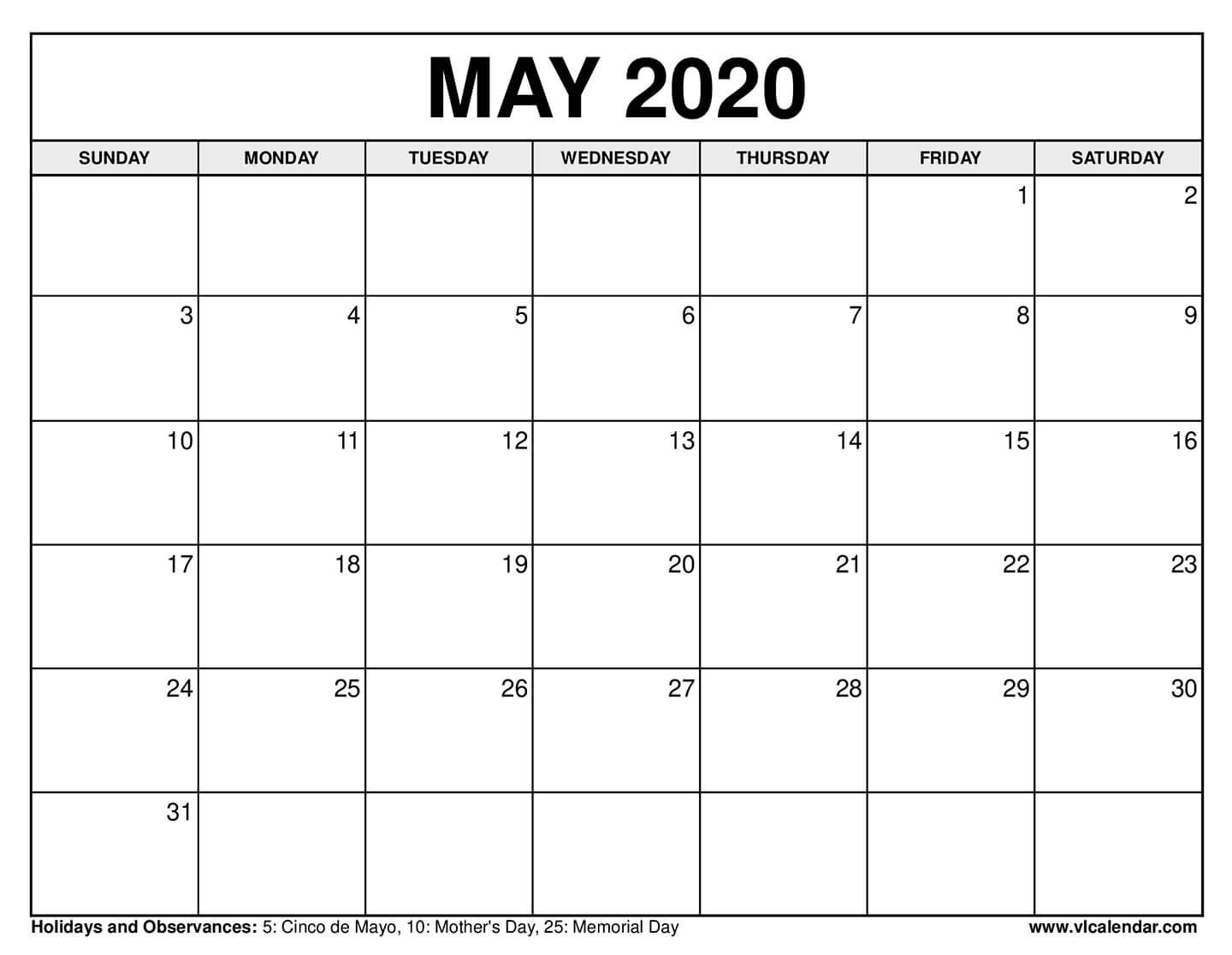 Printable May 2020 Calendars In 2020 Calendar Confederate