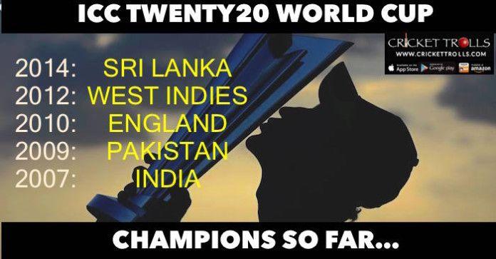 #WT20 #T20WorldCup #T20I Indian Cricket Team Pakistan Cricket Team England Cricket TeamWest Indies cricket team Sri Lanka National Cricket Team Cricket Trolls  Winners of T20 World Cup so far....  http://www.crickettrolls.com/2016/03/12/icc-twenty20-world-cup-winners-so-far/