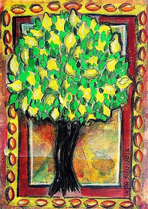 Lemon Tree Gouache Inktense Pencil Ink On Heavy Watercolour