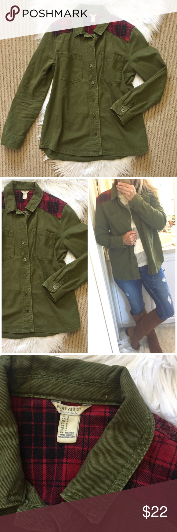 Red plaid flannel jacket  Forever  Army Green Shirt Jacket  My Posh Closet  Pinterest