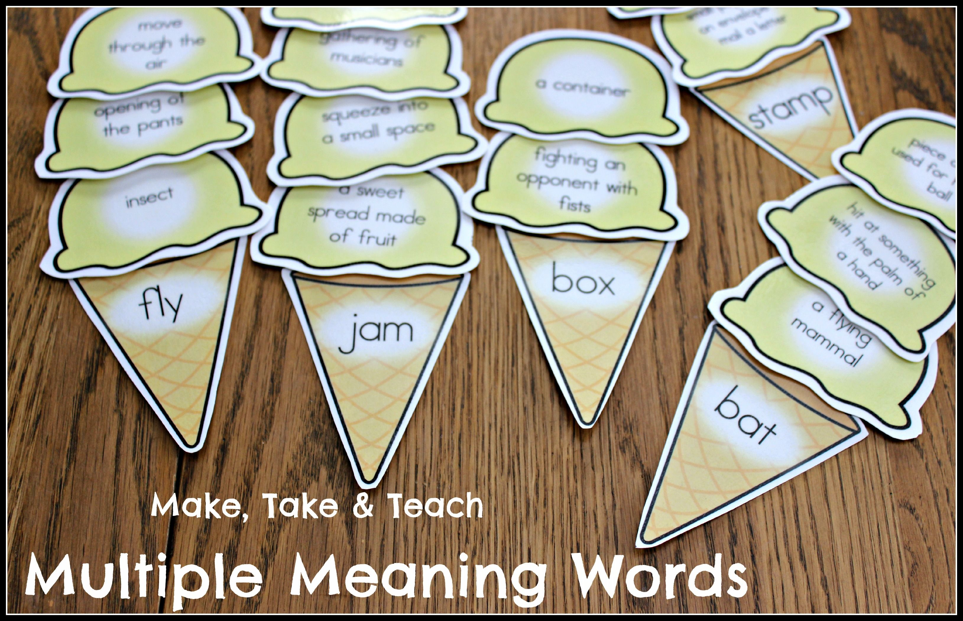 Multiple Meaning Words Ice Cream Scoops