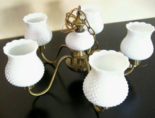 Antique Hobnail Milk Glass Chandelier