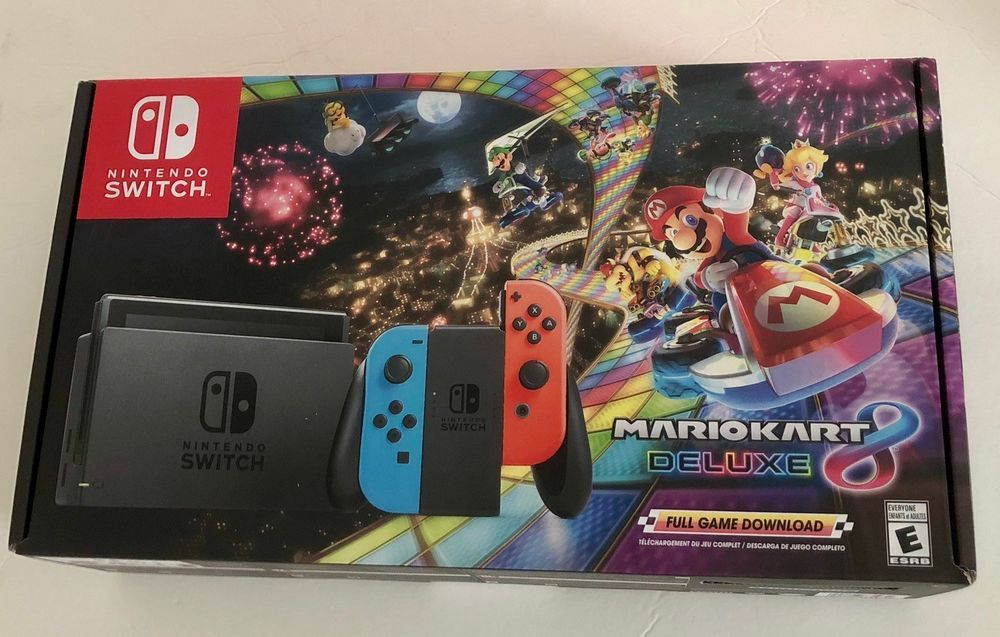 New Nintendo Switch Mario Kart 8 Deluxe Console Bundle Neon