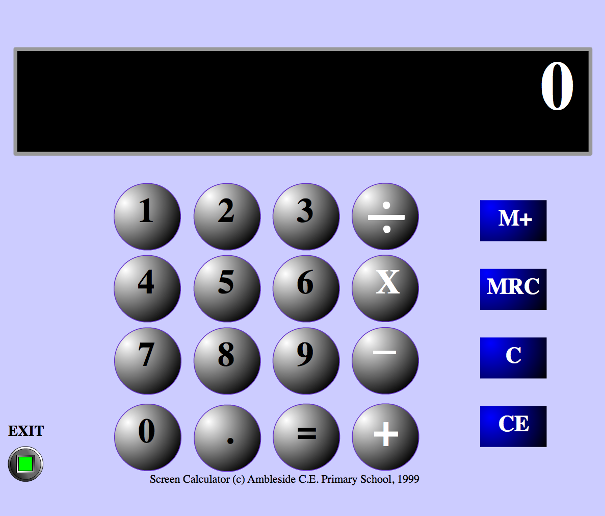 Big Calculator: A lovely full screen big calculator which displays at around font size 72+ depending on the screen size. It highlights your number and symbol selections and makes sounds to indicate choices. Switch and keyboard accessible using tab and enter keys. Great for whole class teaching with the interactive whiteboard, or for individual use on a laptop. Simple and straightforward, with good accessibility.