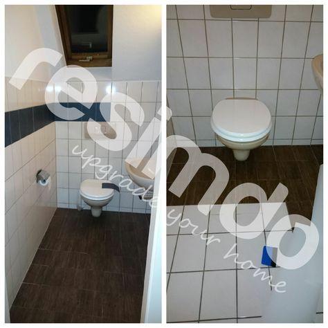 Fliesen #Toilette #folieren #renovieren #Holz #bekleben #diy