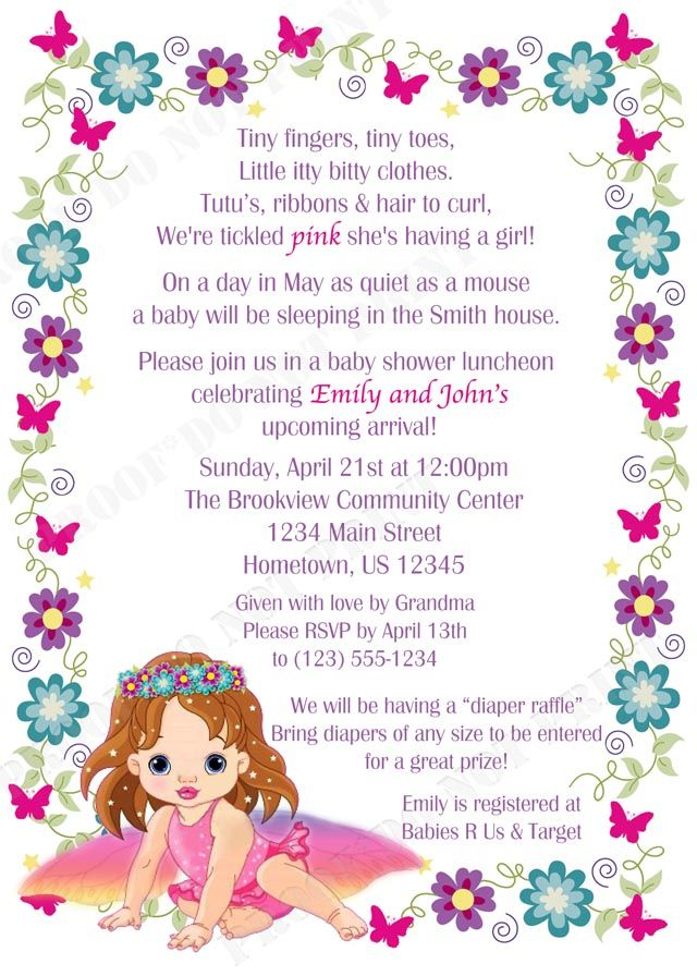 Personalized Flower Garden Fairy Baby Shower Invitations – Garden Party Baby Shower Invitations