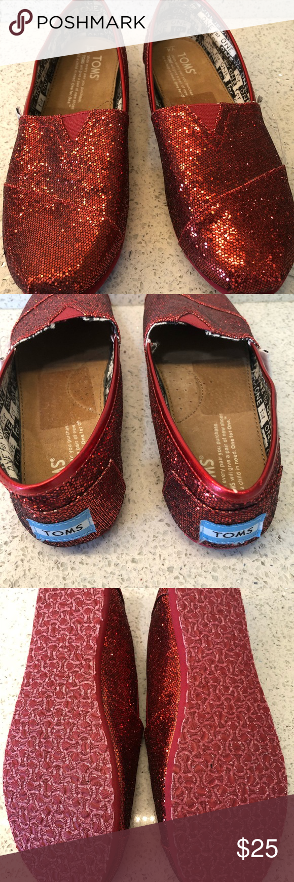 eb73b47273a Red Glitter Toms 4Y or 6W Toms slip on shoes. Red Glitter Red Sequins. New  with out tags. Comes from Smoke free Pet free home. Size is 4 Youth but  should ...