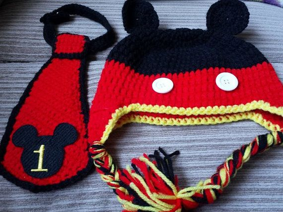 Crochet Mickey Mouse First Birthday Hat/Tie Set | Alexander\'s ...