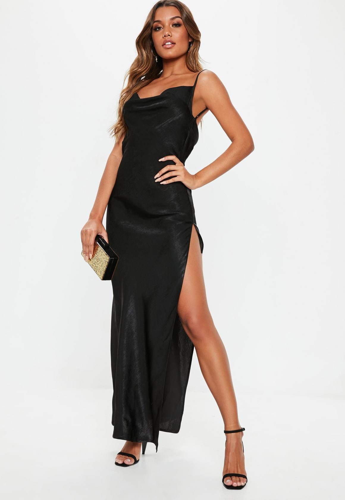 233ba8add3 Missguided - Black Satin Cowl Maxi Dress