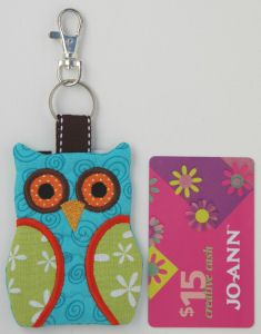 Owl Key Chain Card Holder - made in the hoop machine embroidery design