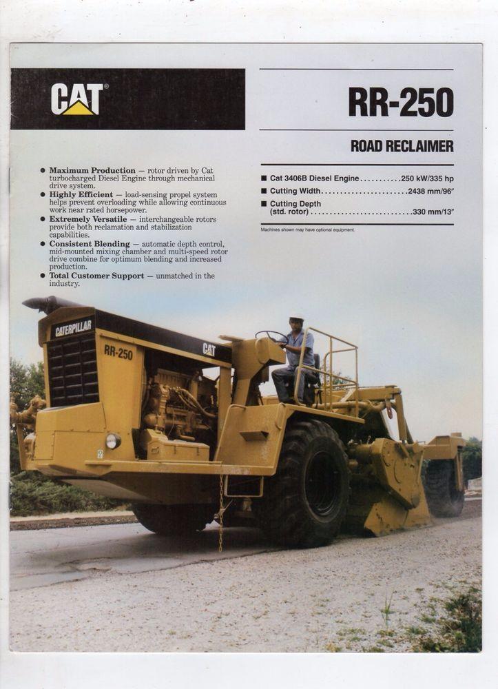 Caterpillar sales\/spec brochure RR-250 Road Reclaimer 1991 free - dragline operator sample resume