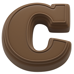 Chocolate present font letter C. Sweet alphabet and lettering.