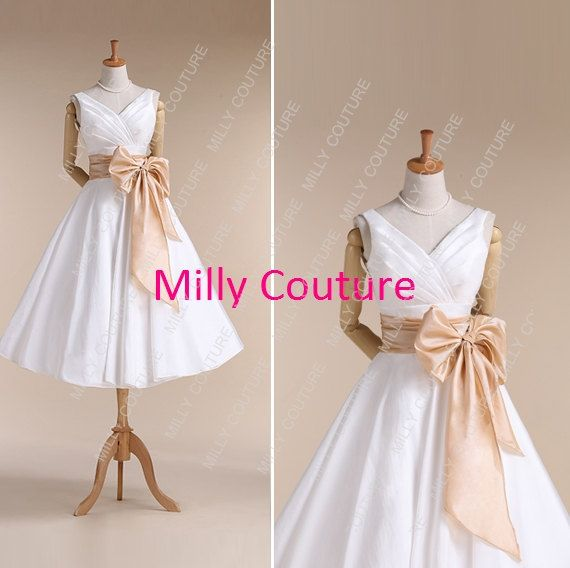 Short Wedding Dress 1950 S Tea Length Simple Vintage Item Fairy By Millycouture On Etsy