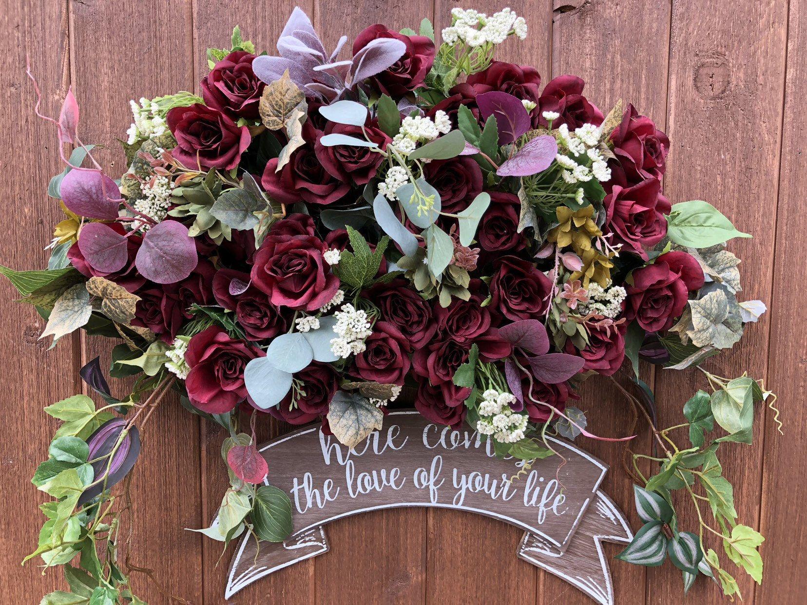 Burgundy Wedding Ceremony Arch, Wedding Arch Flowers