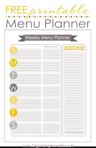 Menu Planner  Free Printable  Organize    Menu