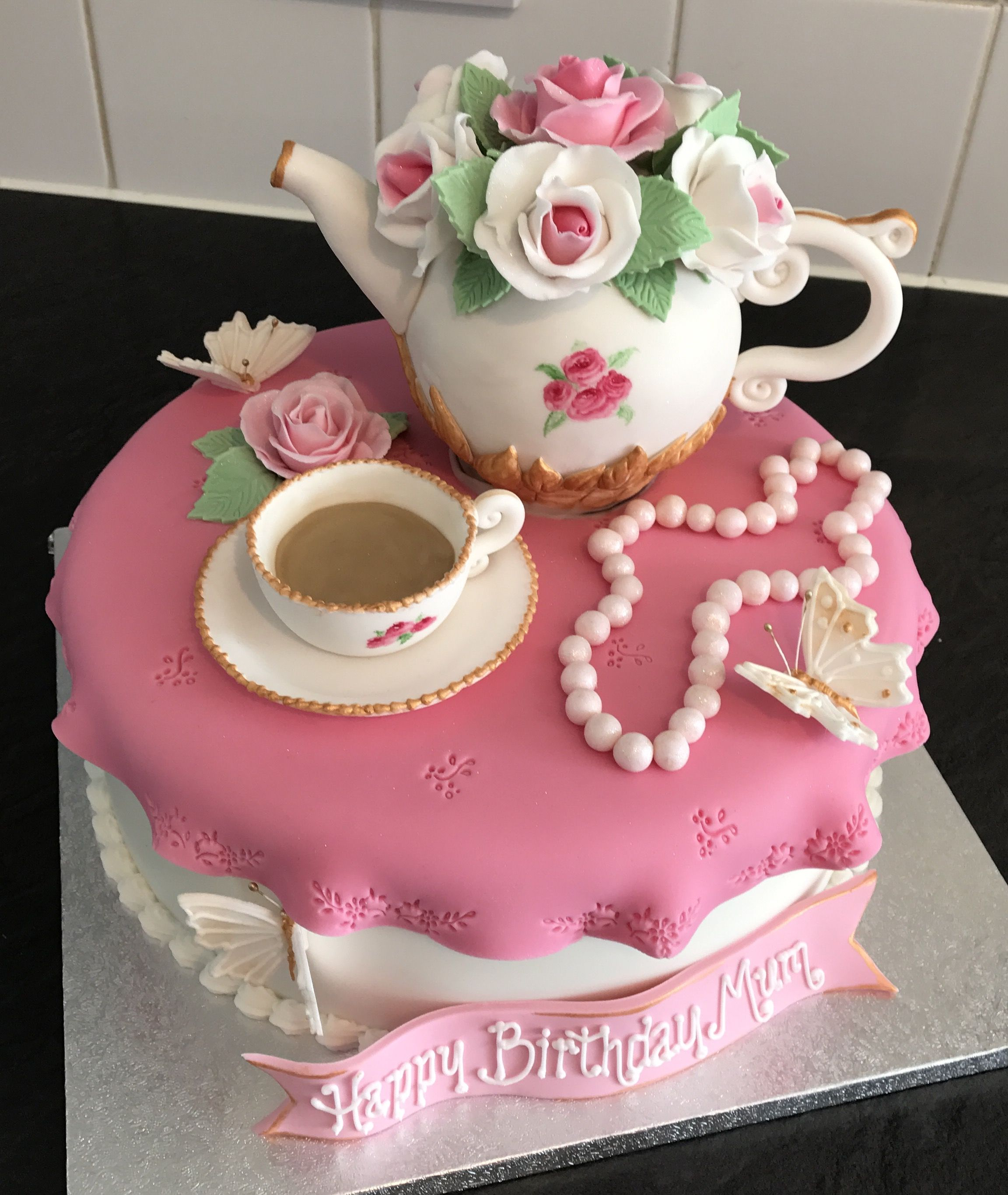 Fabulous Vintage Teapot Cake With Images Teapot Cake 80 Birthday Cake Personalised Birthday Cards Cominlily Jamesorg