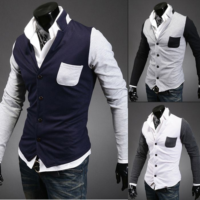 2014 New Fashion Quality Men's Knitwear Long Sleeve Cardigans V Collar  Double Breasted Slim Casual Sweaters