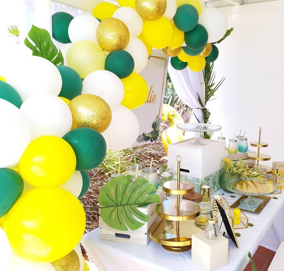 Deco Jaune Et Vert thalies 32th birthday . thème : tropical vert et jaune