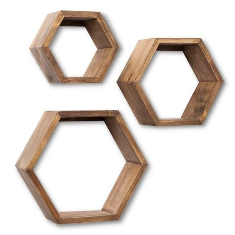 Threshold Floating Shelves Endearing Threshold™ Hexagon Wall Cube Set Of 3  Graywash  Funky Fresh Decorating Design