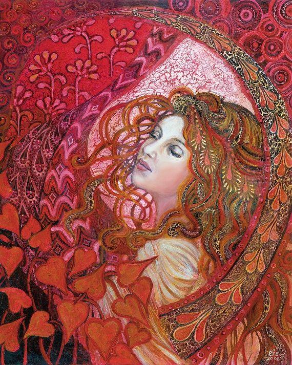 Raven Goddess 5x7 Greeting Card Pagan Mythology Witch Art Nouveau Psychedelic Bohemian Gypsy Goddess Art