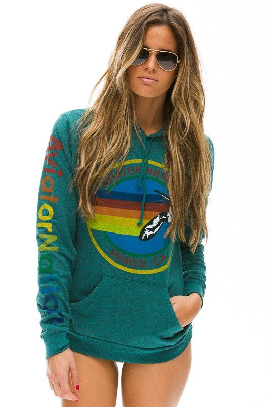 AVIATOR NATION PULLOVER HOODIE - HEATHER TEAL