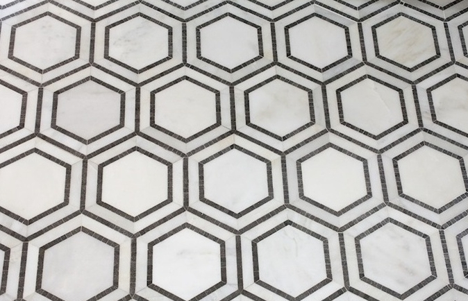 Hex Eal Mosaic Basalt And Oriental White Marble Tile Mediterranean Wall Floor Mission Stone