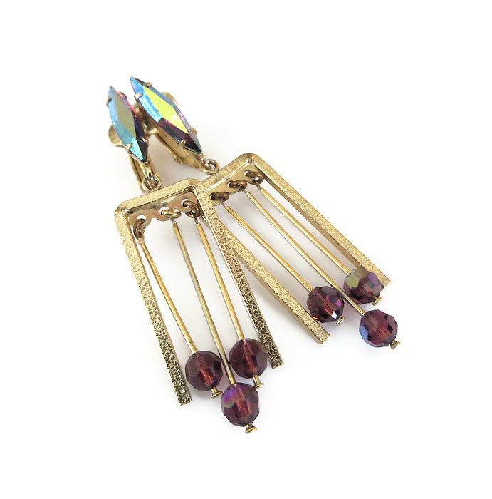 Lewis Segal Earrings, Modernist, MCM, Mid Century, Purple Rhinestone, Glass Beads, Dangle Earrings, Vintage Jewelry