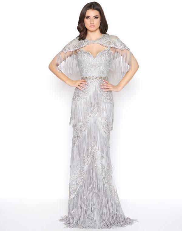 030f81d2 Mac Duggal - 50500D Embellished Fringed Sheath Evening Gown – Couture Candy