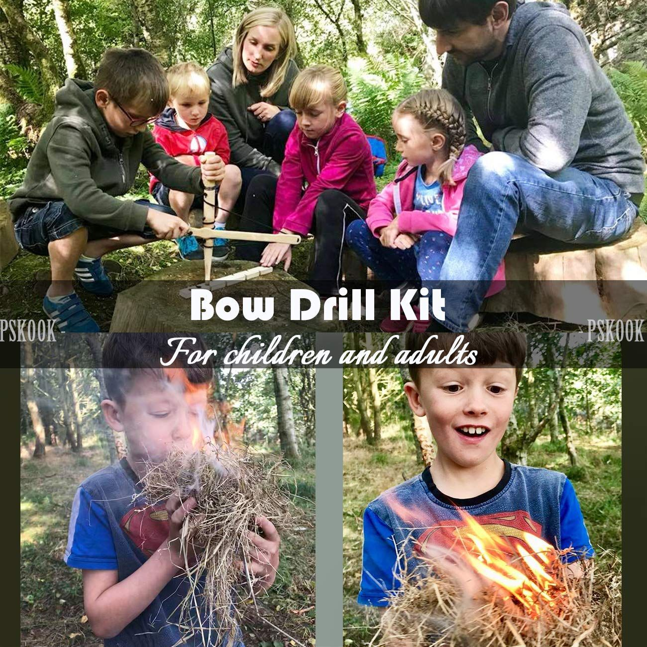 PSKOOK Bow Drill Kit Fire Starter Primitive Wood Survival Practice Friction Fire Tool Scout Outdoor Activity Kits for Teaching Outward Bound Training