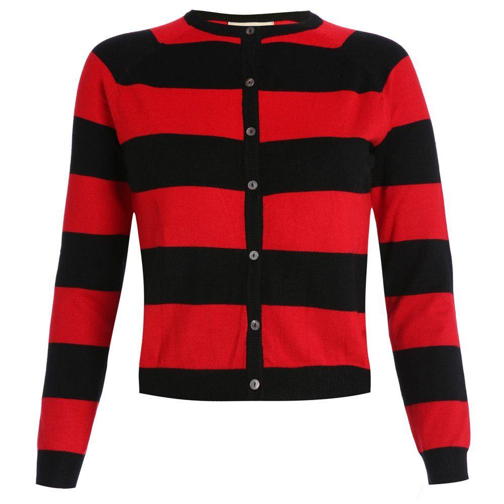 'Menise' Red Black Stripe Cardigan